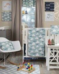 Little Sail Boat Crib Bedding Set by Glenna Jean.  Baby boy designer bedding and room accessories.  Create the nursery of your dreams.