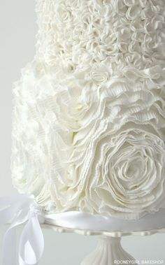 Beautiful paper thin molded fondant. White on White Ruffles by RooneyGirl BakeShop  |  TheCakeBlog.com