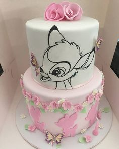Bambi Cake - Birthday - first birthday cake-Erster Geburtstagskuchen 1st Birthday Cake For Girls, Girl Birthday Themes, Disney Birthday, 2nd Birthday Party Ideas, Baby Birthday Cakes, 17th Birthday, Baby Cakes, Baby Shower Cakes, Disney Cakes