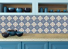 Backsplash Peel and Stick Tile Stickers 24 PC Set Authentic Tile Decals Bathroom & Kitchen Vinyl Wall Decals Easy to Apply Just Peel & Stick Home Decor (6x6 Inch, Classic Blue H14)