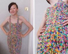WOW! Take note, paracorders. If a loom band dress can sell for $291,000, just imagine how much a paracord dress could go for. #unreal #paracord #loombands