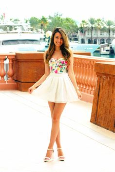 Stalk My Style: Floral Bustier & White Lace Mini - Fashion HotBox - July 27 2019 at Floral Bustier, Bustier Dress, Peplum, Cute Summer Outfits, Spring Outfits, Cute Outfits, Spring Skirts, Cute Fashion, Spring Fashion