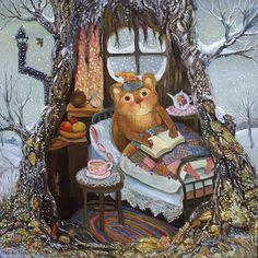 Primavera y con este tiempo! Creo que me quedo leyendo hasta el verano (ilustración de Rina Zeniuk-Рины Зенюк ) Animal Art, Fantasy Art, Painting, Whimsical Art, Illustration Art, Art, Childrens Art, Book Art, Vintage Illustration