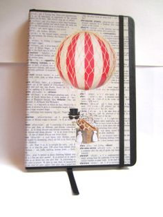 Items similar to Giraffe Hot air balloon and Elephant with top hat dictionary art print notebook on Etsy Giraffe, Elephant, Dictionary Art, Hot Air Balloon, Balloons, Hat, Art Prints, Unique Jewelry, Handmade Gifts
