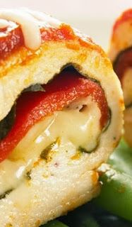 chicken mozzarella roll-​ups  Ingredients: 4 small (4 ounces each) boneless, skinless chicken breasts 12 large, fresh basil leaves, rinsed and patted dry 4 pieces roasted red pepper (available in jars), about 2 inches by 5 inches, ribs and membrane trimmed, patted dry 4 ounces shredded reduced-fat mozzarella cheese (about 12 Tablespoons) 1 1/2 cups canned, plain tomato sauce