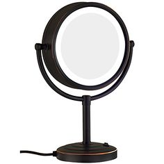GURUN Magnifying Mirror Tabletop Oil Rubbed Bronze Double-Sided LED Lighted Makeup Mirror with Magnification,