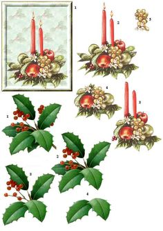 Candles and Holly Christmas Labels, 3d Christmas, Christmas Printables, Christmas Pictures, Xmas, Art Deco Cards, Decoupage Printables, Christmas Decoupage, Art Carte
