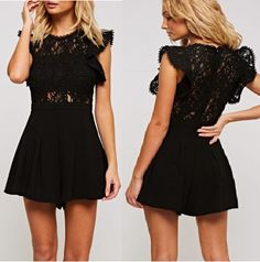 48b4881771e Stunning Short ruffle sleeve Black crochet lace romper with cinched waist  and back zipper. Perfect