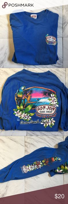 ~ VINTAGE ~ Ron Jon Long Sleeved Tee Amazing artwork on this piece. Picture 2 is the back, 3 is the sleeve. In good condition too! Very summer or spring-esque! ron jon Shirts Tees - Long Sleeve