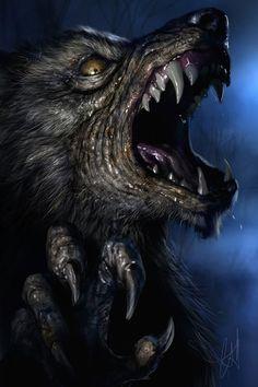 Werewolf Art by Chris Scalf @ ArtStation Dark Fantasy Art, Dark Art, Fantasy Creatures, Mythical Creatures, Beast, Dragons, Werewolf Art, Horror Artwork, Howl At The Moon