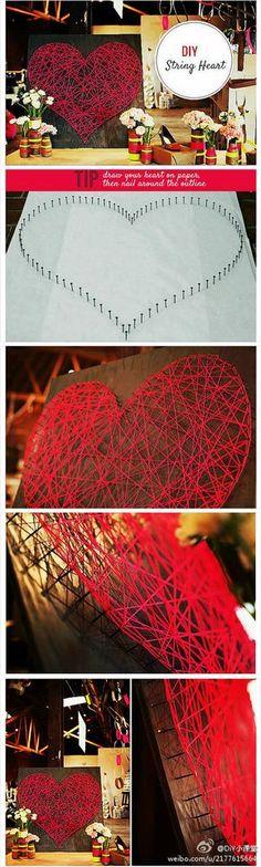 coração prego e linha