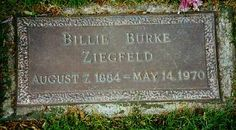 """Billie Burke - Actress, (played Glinda the Good Witch in the movie """"The Wizard of Oz"""") Wife of Flo Ziegfeld of the Ziegfeld Follies - Kensico Cemetery, Valhalla, New York Cemetery Headstones, Cemetery Art, Famous Tombstones, Billie Burke, Glinda The Good Witch, Famous Graves, Land Of Oz, Grave Memorials, Find A Grave"""