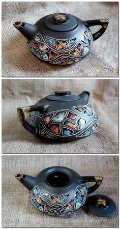 $42.82 Handpainted ceramic teapot 33.8 fl.oz #ceramic_teapot #pottery_teapot #Anniversary_gift_idea