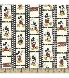 Disney® Mickey Filmstrip Linear Flannel Fabric
