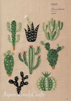 DIY Floral & Cactus Embroidery Projects from A Year of Embroidery by Yumiko Higu. - DIY Floral & Cactus Embroidery Projects from A Year of Embroidery by Yumiko Higuchi Embroidery Designs, Cactus Embroidery, Embroidery Flowers Pattern, Paper Embroidery, Japanese Embroidery, Hand Embroidery Stitches, Crewel Embroidery, Embroidery Techniques, Cross Stitch Embroidery