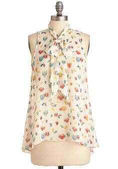 Hoot Do You Do Top - Mid-length, Print with Animals, Sleeveless, Multi, Tan / Cream, Owls, Tie Neck, Sheer