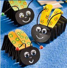 Sempre criança, #knutselen, kinderen, basisschool, bijen van muizetrapje, insect, zomer, #craft, children, elementary school, papercraft, bee, summer