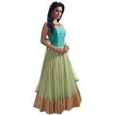 Fashionx Net green Embroidered semi-stitched dress material