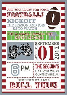 Football Party Invitation. $15.00, via Etsy.