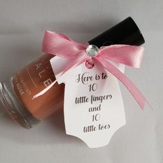 Nail polish with a poem tag attached. Perfect for your bridl or baby shower. Hen Party Favours, Baby Shower Favours, Personalized Baby Shower Favors, Personalized Candles, Nail Polish Party, Nail Polish Favors, Bridesmaid Thank You, Candle Favors, Wedding Keepsakes