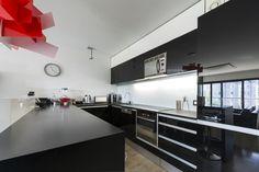 Moder Black White Kitchen Interior Red Stock Photo (Edit Now) 112867192 Black Granite Kitchen, Black Marble Countertops, Black Kitchens, Fitted Kitchens, Layout Design, Canapé Design, Interior Design, Design Ideas, Modern Kitchen Design