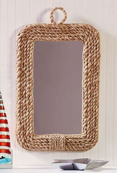 Rope Nautical Decor Mirror :: Coastal Decor Mirrors :: Coastal Decor Walls :: By The Sea Decor - Beach Decor Wall Mirrors Ikea, Mirror Wall Collage, Rustic Wall Mirrors, Framed Wall, Rope Mirror, Rope Frame, Diy Mirror, Beach Mirror, Mirror Vanity