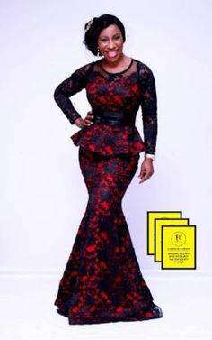 Red and Black Aso-ebi Style by NHN Couture- Makeup and Gele by Jagabeauty