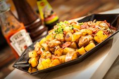 How to Make Fried Potatoes: 1 inch dicing, add butter and oil to pan, fry for 5 minutes, drain on paper towel.