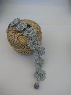 Crochet Flower Bracelet, Women's Jewelry $14.72 Free shipping Simple Jewelry, Women's Jewelry, Crochet Jewellery, Crochet Earrings, Handmade Silver, Handmade Jewelry, Crystal Beads, Crystals, Little Flowers