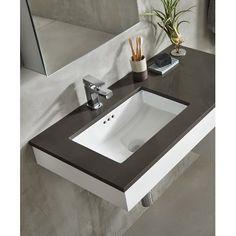 Ronbow Essence Ceramic Rectangular Undermount Bathroom Sink with Overflow Sink Finish: White Kohler Bathroom, Single Sink Bathroom Vanity, Toilet Vanity, Bathroom Sink Cabinets, Bathroom Mirrors, Vanity Sink, Bathroom Interior, Modern Bathroom, Black