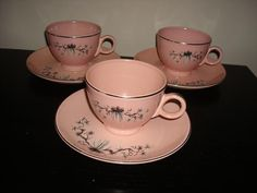 14 pieces 50's pink deco pine cone dwarf Taylor Smith Taylor china mug bowl dish plate