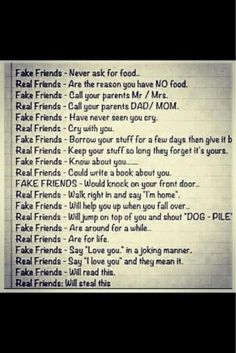Real and Fake Friends. #differences