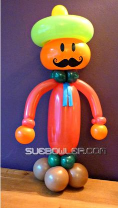 Here is a Mexican version of the Mustache Man - perfect for Cinqo de Mayo! #balloon #mustache #mexican