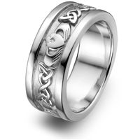 From design to final polish Claddagh Ring is the PERFECT QUALITY claddagh wedding band ring featuring 6 trinity knots and 3 claddagh symbols. Sterling Silver Claddagh Wedding Ring made by ma. Mens Claddagh Ring, Claddagh Rings, Celtic Rings, Claddagh Symbol, Celtic Knot, Irish Wedding Rings, Silver Wedding Rings, Wedding Bands, Wedding Set