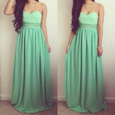 Love the color on this dress!