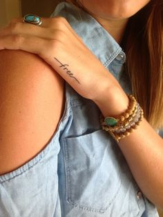 "Her new tattoo. Inspired by the line from an Addison Road song "" your love sets me FREE"""