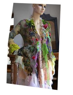 RESERVED For MARGIE Art To Wear Unique Floaty Jacket  QUEEn Of The FOREST Fairy  Moss Clearing Wild Roses Leaves   Marie Antoinette Tattered