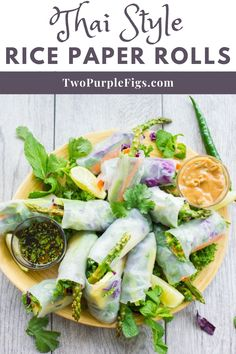 Thai Summer Rolls are light and easy Style Rice Paper Rolls.They come together so quickly that you even have time to make my creamy peanut sauce and cilantro dipping sauce to serve alongside your homemade Thai finger food! #thairicepaperrolls #sauce #thairolls #twopurplefigs | twopurplefigs.com @twopurplefigs Healthy Meals For One, Healthy Recipes For Weight Loss, Healthy Dishes, Good Healthy Recipes, Healthy Chicken Recipes, Clean Eating Recipes, Eating Healthy, Cooking Recipes, Crockpot Recipes
