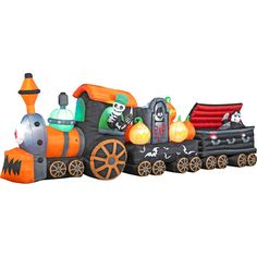 6' Tall x 17' Long Airblown Halloween Inflatable Skeleton Train with Rising ghost and vampire one of the FAVORITE blow ups for Spooky Train - Purchased from Holiday Radiance on eBay