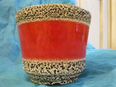 Fat Lava Planter – Jopeko – Red with Black & White Lava Crust – 1960s 1970s – WGP – Mid Century – Vintage German Pottery retro Home Decor von everglaze auf Etsy