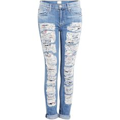 Hudson Ultra Ripped Skinny Jeans ($371) ❤ liked on Polyvore