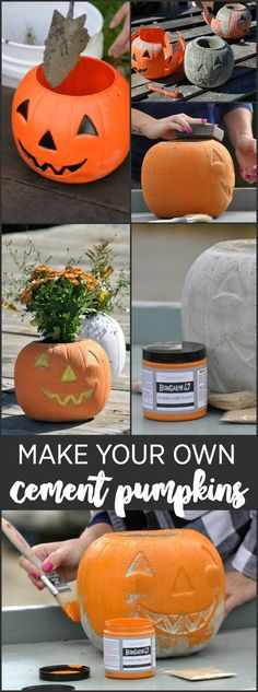 Make your own cement pumpkins