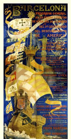 Barcelona programa general de las ferias y fiestas de Ntra. Sra. de la Merced del IV Centenario del descubrimiento de América del 24 Septiembre al 16 de Octubre de 1892 :: Materials gràfics (Biblioteca de Catalunya)