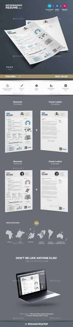 Simple vector template for your resume Fonts, Icons and Examples