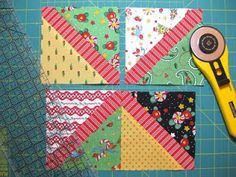 bitty bits & pieces: Charm Pack Quilt Tutorial.  Here are the full instructions for how to make this quilt block using charm pack precuts