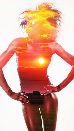 ↑↑TAP AND GET THE FREE APP! Art Creative Sky Air Sun Girl Summer Pink Orange HD iPhone 6 Wallpaper
