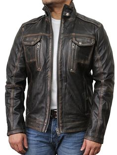 Men's Vintage Leather Biker Jacket distressed leather motorcycle jacket AMAZON.COM