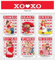 Digital Valentine bingo / retro children ephemera by KBandFriends