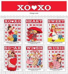 Digital Valentine bingo / retro children ephemera by KBandFriends