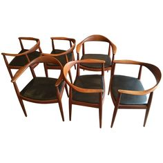 "Set of Six Classic Hans Wegner ""The Chair"" for Johannes Hansen 